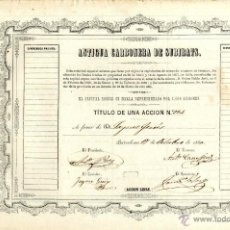Coleccionismo Acciones Españolas: CATALUÑA BARCELONA SOC MINERA ANTIGUA CARBONERA DE SUBIRATS BARCELONA OCTBRE 1860-Nº924. Lote 50507700