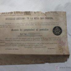 Coleccionismo Acciones Españolas: ACCION SOCIEDAD ANONIMA DE LA MINA SAN PASCUAL, LA CAROLINA JAEN, 1886. Lote 50585199