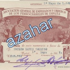Coleccionismo Acciones Españolas: TÍTULO DE SOCIO.ASOCIACIÓN DE EMPLEADOS Y OBREROS DE LOS FERROCARRILES DE ESPAÑA. 1962. Lote 50644189