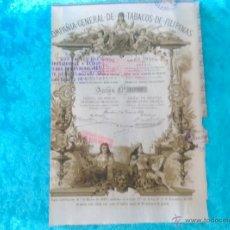 Coleccionismo Acciones Españolas: ACCION COMPAÑIA DE TABACOS DE FILIPINAS 1882. Lote 50885614
