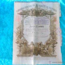 Coleccionismo Acciones Españolas: ACCION COMPAÑIA DE TABACOS DE FILIPINAS 1882. Lote 50885636