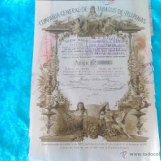 Coleccionismo Acciones Españolas: ACCION COMPAÑIA DE TABACOS DE FILIPINAS 1882. Lote 50885670