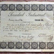 Coleccionismo Acciones Españolas: ACCION SOCIEDAD INDUSTRIAL DE 1000 REALES, MADRID, 1844. Lote 51058184