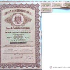 Coleccionismo Acciones Españolas: CÉDULA DE CRÉDITO LOCAL 500 PTS AL 4% 1942 CON 4 VALES, 37,50 X 24,50 CM. Lote 51078013