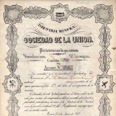 Coleccionismo Acciones Españolas: ACCION. INDUSTRIA MINERA. SOCIEDAD DE LA UNION. MURCIA 1857. REVOLUCION Y SAN JOAQUIN. TIMBRES.. Lote 51220083