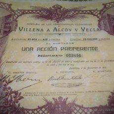 Coleccionismo Acciones Españolas: FERROCARRILES DE VILLENA A ALCOY Y YECLA. ACCION PREFERENTE 1910. Lote 51762166
