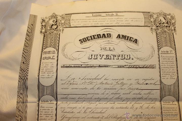 ACCION 5000 REALES DE BELLON, SOCIEDAD AMIGA DE LA JUVENTUD 1846 MADRID (Coleccionismo - Acciones Españolas)