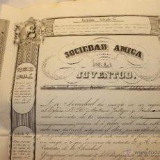 Coleccionismo Acciones Españolas: ACCION 5000 REALES DE BELLON, SOCIEDAD AMIGA DE LA JUVENTUD 1846 MADRID. Lote 53275505