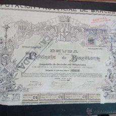 Coleccionismo Acciones Españolas: DEUDA DE LA PCIA DE BARCELONA 18.000 OBLIGACIONES 1 DE JULIO DE 1906 TIENE CUPONES SELLO TIMBRE 5 C. Lote 51884113