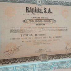 Coleccionismo Acciones Españolas: ACCIÓN COMPAÑIA RAPIDA SA DE 1962 CON CUPONES . Lote 51884539