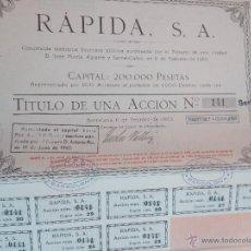 Coleccionismo Acciones Españolas: ACCIÓN COMPAÑIA RAPIDA SA DE 6 DE FEBRERO DE 1920 CON CUPONES . Lote 51884681