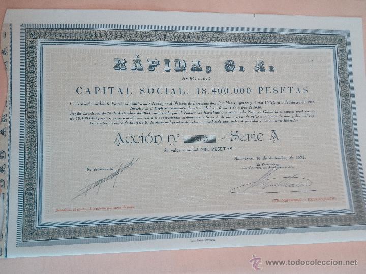 ACCIÓN COMPAÑIA RAPIDA SA DE 1954 CON CUPONES (Coleccionismo - Acciones Españolas)