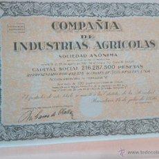 Coleccionismo Acciones Españolas: ACCIÓN COMPAÑÍA INDUSTRIAS AGRICOLAS DE 1956 DE BALMES 103 BARCELONA. Lote 51885865