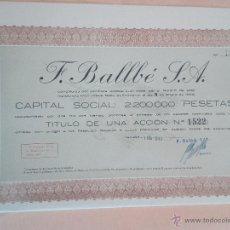 Coleccionismo Acciones Españolas: ACCIÓN COMPAÑÍA F.BALLBE SA TARRASA DE 1945. Lote 51885964