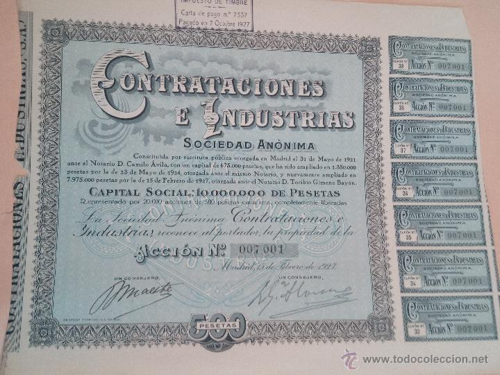 ACCIÓN COMPAÑÍA CONTRATACIONES E INDUSTRIAS SA ACCIÓN DE 1927 CON CUPONES (Coleccionismo - Acciones Españolas)