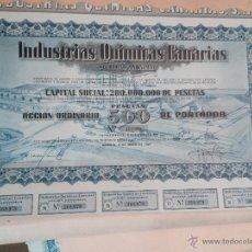 Coleccionismo Acciones Españolas: ACCIÓN COMPAÑÍA INDUSTRIAS QUIMICAS CANARIAS 200.OOO.OOO PTS ACCION DE 500 MAYO DE 1969. Lote 51886430