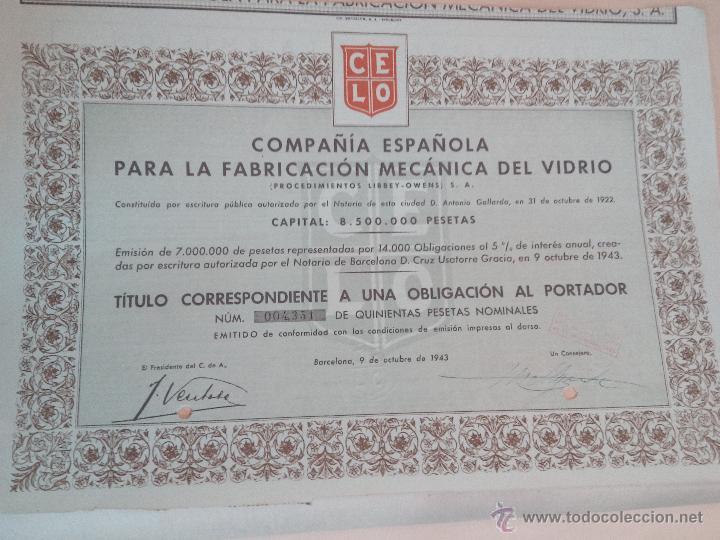 ACCIÓN COMPAÑÍA ESPAÑOLA PARA LA FABRICACION MECANICA DEL VIDRIO DE 1943 (Coleccionismo - Acciones Españolas)