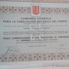 Coleccionismo Acciones Españolas: ACCIÓN COMPAÑÍA ESPAÑOLA PARA LA FABRICACION MECANICA DEL VIDRIO DE 1943. Lote 51886850
