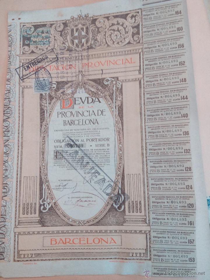 ACCIÓN DIPUTACION PROVINCIAL DEUDA DE BARCELONA ENERO DE 1915 PRECIOSA CON CUPONES (Coleccionismo - Acciones Españolas)