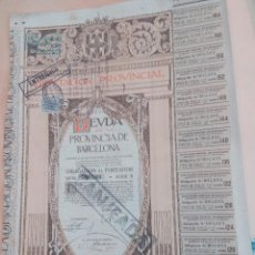 Coleccionismo Acciones Españolas: ACCIÓN DIPUTACION PROVINCIAL DEUDA DE BARCELONA ENERO DE 1915 PRECIOSA CON CUPONES. Lote 51886955