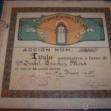 Coleccionismo Acciones Españolas: YECLA. COOPERATIVA ELECTRICA YECLANA. TITULO DE ACCION POR VALOR DE 25PTS EN YECLA 1935. Lote 52002551