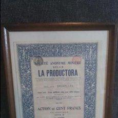 Coleccionismo Acciones Españolas: ACCIÓN LA PRODUCTORA,LINARES(JAÉN).BRUSELAS 1912. Lote 52283371
