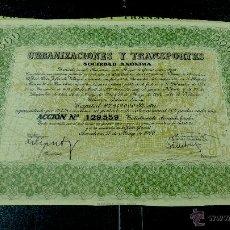 Coleccionismo Acciones Españolas: URBANIZACIONES Y TRANSPORTES, S.A.BARCELONA,1960.. Lote 52286566