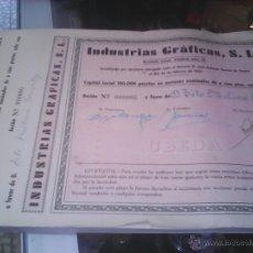 Coleccionismo Acciones Españolas: ACCIONES INDUSTRIAS GRAFICAS SL DE UBEDA. Lote 52320437