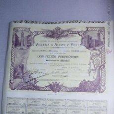 Coleccionismo Acciones Españolas: FERROCARRILES DE VILLENA A ALCOY Y YECLA. ACCION PREFERENTE 1910. Lote 52457154