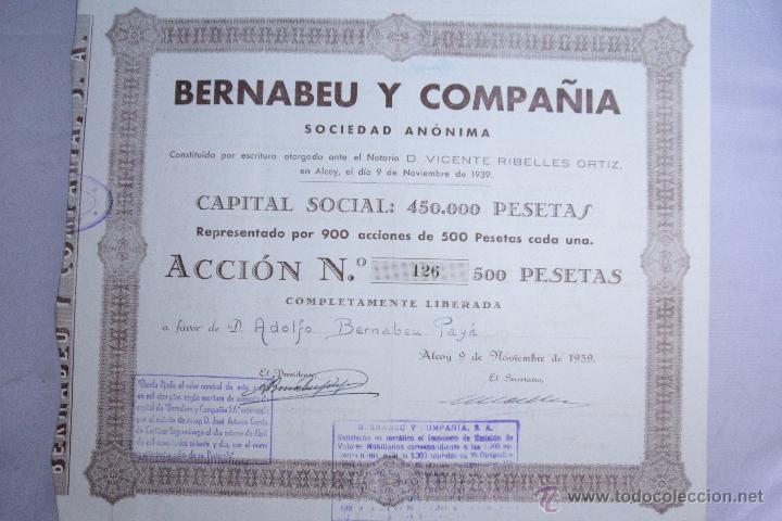 BERNABEU Y COMPAÑIA, ALCOY, 1939, ACCIÓN Nº 126 (Coleccionismo - Acciones Españolas)