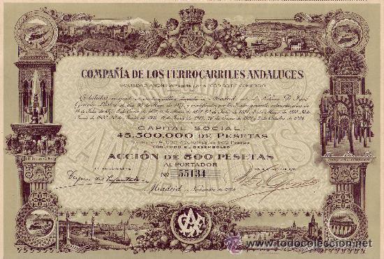 1924 ACCIÓN DE 500 PESETAS DE LA COMPAÑÍA DE LOS FERROCARRILES ANDALUCES (Coleccionismo - Acciones Españolas)