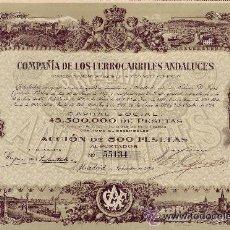 Coleccionismo Acciones Españolas: 1924 ACCIÓN DE 500 PESETAS DE LA COMPAÑÍA DE LOS FERROCARRILES ANDALUCES. Lote 52708883