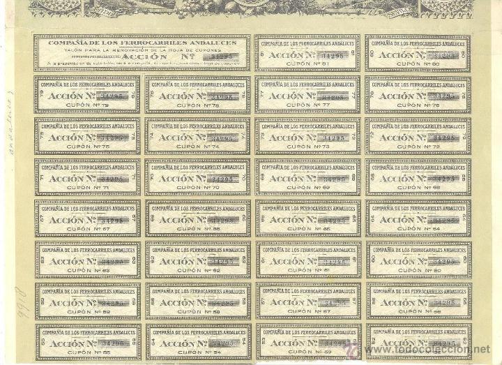 Coleccionismo Acciones Españolas: 1924 Acción de 500 pesetas de la Compañía de los Ferrocarriles Andaluces - Foto 2 - 52708883