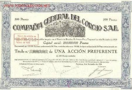 UNA ACCIÓN PREFERENTE COMPAÑIA GENERAL DEL CORCHO 1929 BARCELONA (Coleccionismo - Acciones Españolas)