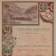 Coleccionismo Acciones Españolas: FERROCARRIL PALMA - SÓLLER, MALLORCA (1906). Lote 52763497