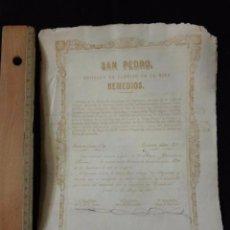 Coleccionismo Acciones Españolas: ACCIÓN SAN PEDRO. SOCIEDAD DE PARTIDO DE LA MINA REMEDIOS. HOYA DEL CANDOGO DE HERRERIAS LORCA 1873. Lote 52860381