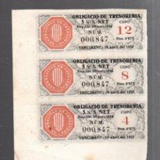 Coleccionismo Acciones Españolas: OBLIGACIÓ DE TRESORERIA. 1937. TRES CUPONES DE OBLIGACIÓN Y DIVIDENDOS. GENERALITAT CATALUNYA. Lote 52974811