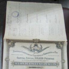 Coleccionismo Acciones Españolas: ACCION DE LA SOCIEDAD COOPERATIVA GADITANA DE FABRICACION DE PAN. 1897. ACCION DE 50 PTAS.. Lote 53413651
