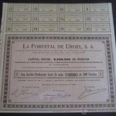 Collezionismo Azioni Spagnole: ACCION CON CUPONES LA FORESTAL DE URGEL 1920. Lote 146657996