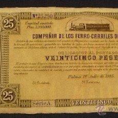 Coleccionismo Acciones Españolas: COMPAÑIA FERROCARRILES DE MALLORCA - OBLIGACION DE 25 PTS - VER FOTO ADICIONAL. Lote 119451727