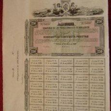 Coleccionismo Acciones Españolas: PRECIOSA ACCION - COMPAÑIA FERROCARRILES DE MALLORCA - OBLIGACION DE 250 PTS - VER FOTO ADICIONAL. Lote 108418695