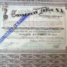 Coleccionismo Acciones Españolas: ACCION , CONSERVAS TRIGO , TRINARANJUS, VALENCIA 1943 , 500 PESETAS , ORIGINAL. Lote 120282516