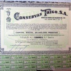 Coleccionismo Acciones Españolas: ACCION , CONSERVAS TRIGO , TRINARANJUS, VALENCIA 1966 , 500 PESETAS , ORIGINAL. Lote 113503184