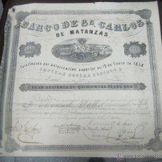 Coleccionismo Acciones Españolas: ACCION. BANCO DE SAN CARLOS DE MATANZAS. 1859. VER. 35 X 34CM.. Lote 53720822