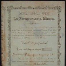 Coleccionismo Acciones Españolas: SOCIEDAD ESPECIAL MINERA LA PERSEVERANCIA MINERA, MÉRIDA -BADAJOZ- (1880). Lote 53852447