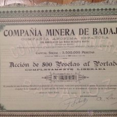 Coleccionismo Acciones Españolas: COMPAÑÍA MINERA DE BADAJOZ (MINAS DE SANTA MARTA) 1912. Lote 171685282