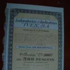 Coleccionismo Acciones Españolas: LABORATORIOS E INDUSTRIAS IVEN. Lote 115937703