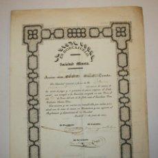 Coleccionismo Acciones Españolas: ACCIÓN SOCIEDAD MINERA - LA DICHA BUENA EN HORCAJUELO - 21 DE JUNIO DE 1853. Lote 49459489
