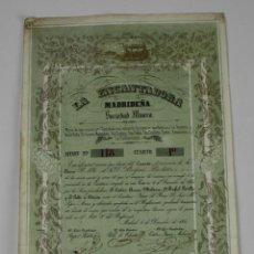 Coleccionismo Acciones Españolas: ACCIÓN SOCIEDAD MINERA - LA ENCANTADORA MADRIDEÑA - 6 DE DICIEMBRE DE 1850. Lote 49459827