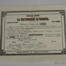 Coleccionismo Acciones Españolas: ACCIÓN SOCIEDAD MINERA - LA FRATERNIDAD EXTREMEÑA - CASTAÑAR DE IBOR - 1853. Lote 49461822